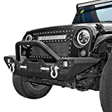 #6: LEDKINGDOMUS Rock Crawler Front Bumper for 07-18 Jeep Wrangler Unlimited JK with LED Lights & Winch Plate & D-rings
