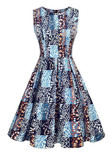 Luoqi Clothing Women's 1950s Vintage Cocktail Rockabilly Colorblock Midi Tea Dress Blue Large