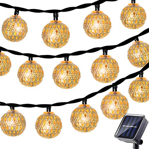 Betus Solar Outdoor String Lights, Moroccan Globe Waterproof LED Fairy String Light - Decorations for Garden, Porch, Home, Christmas, Wedding & Party – 30 LEDs, 15 Feet, Warm White