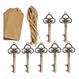 Cheap AmaJOY 50Pcs Wedding Favors Rustic Skeleton Key Bottle Opener with 50pcs Escort Card Tag and Twine for Guests Party Favors