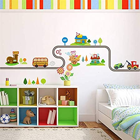 Amazon.com: Batop Cartoon Cars Highway Track Wall Stickers for Kids - Rooms Sticker - Childrens Play Room Bedroom Decor Wall Art Decals (A): Home & Kitchen