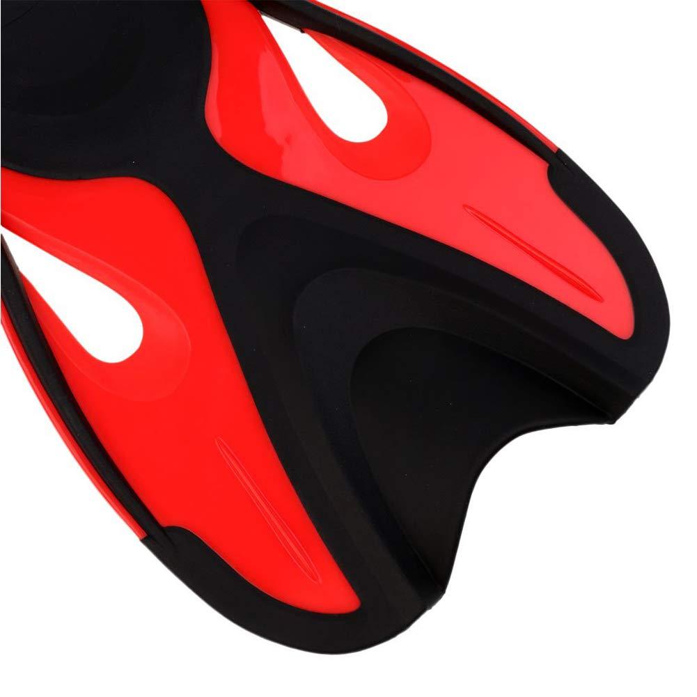 Negro Rojo L//XL Swim ni/ños Aletas Cortas Hoja de Snorkel Aletas para Nadar Aletas formaci/ón para la formaci/ón de Buceo ni/ños Piscina al Aire Libre