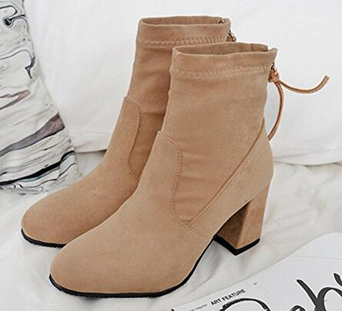 IDIFU Womens Classic Round Toe Mid Chunky Heels Faux Suede Short Ankle Boots With Back Zipper Apricot Dt6xf