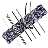 Stainless Steel Straws, Reusable Metal Drinking Straw Set, FDA Approved, Straight, Bent and Smoothie/Bubble Tea Straw with Cleaning Brush and Carry case, a Perfect eco Friendly Gift/Stocking Stuffer
