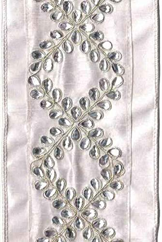Luxury Embellished Ribbon - 4 Inches Wide (White Diamond Vine) -
