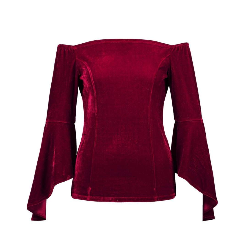 Fuxitoggo Mujeres 2018 Off The Shoulder Blusa Sólido Terciopelo ...