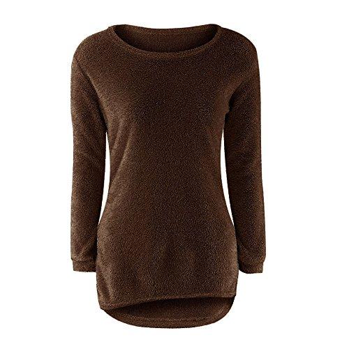 zolimx Blusa de Moda Casual para mujer manga larga sólido puente suéteres casuales Café