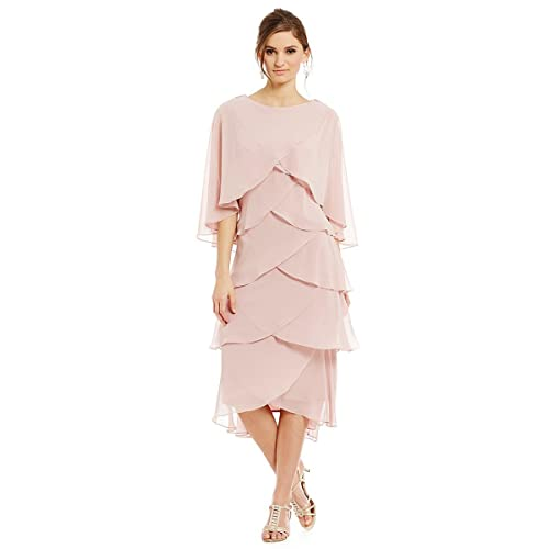 A-Line Scoop Neck Tea-Length Chiffon Mother of the Bride Dresses with Jacket
