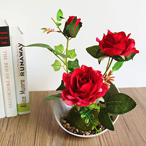 tueselesoleil Small Artificial Topiary Plant in Pot Home Decor Indoor Outdoor Simulation Plant Fake Rose Flower (Potted Rose Topiary)