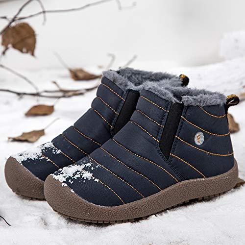 JIAWA Kids Snow Boots Boys Winter Waterproof Boots Girls Slip-on Anti-Slip Fur Lined Warm Booties(Blue 11.5 M US Little Kid) by JIAWA (Image #5)