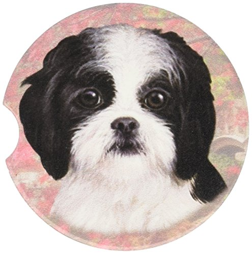E&S Pets Black & White Puppy Cut Shih Tzu Coaster, 3