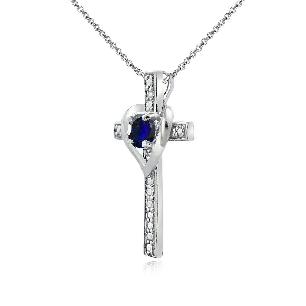 Teens or Women Sterling Silver Gem Cross Heart Pendant Necklace for Girls