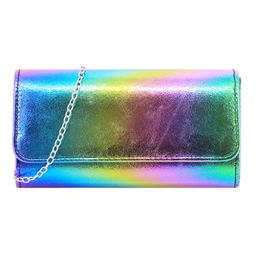 Handbag Multi Color Pink (Gabrine Womens Hologram Holographic Evening Bag Shoulder Bag Crossbody Bag Handbag Clutch Purse for Wedding Party Prom(Multicolor))