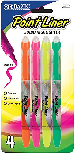 BAZIC Pen Style Fluorescent Color Liquid Highlighters (4/Pack) Case Pack 144 Computers, Electronics, Office Supplies, Computing