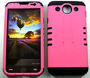 SHOCKPROOF HYBRID CELL PHONE COVER PROTECTOR FACEPLATE HARD CASE AND BLACK SKIN WITH STYLUS PEN. KOOL KASE ROCKER FOR LG OPTIMUS G PRO E980 NEON HOT PINK BK-A006-FE