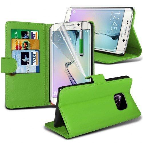 Samsung Galaxy S6 Edge Plus Cubierta del caso con cuero (Verde) Plus de regalo libre, Protector de pantalla y un lápiz óptico, Solicitar ahora mejor caja del teléfono Valorado en Amazon! By FinestPhon