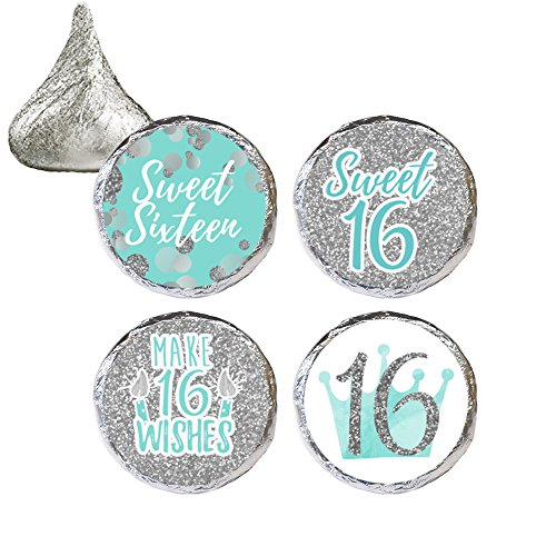 Blue and Silver 16th Birthday - Sweet Sixteen Party Favor Stickers, 324 Count (Party Favor For Sweet 16)