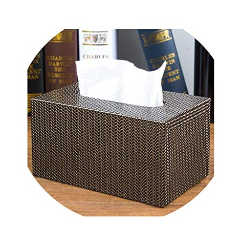 Luxurious Tissue Case Pu Leather Tissue Box Holder for Home Decoration Paper Napkin Holder Towel Box,Small Size 11 ()
