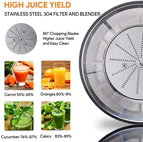 Juicer, Bagotte Upgraded 85mm Wide Mouth Large Juicer Machine, Dual Speed Settings Juicers Whole Fruit and Vegetable Easy to Clean