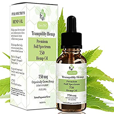 Hemp Oil 750mg Premium Full Spectrum for Pain Relief | Natural Anti Inflammatory & Mood Enhancer | Reduces Stress & Tension | Sleep Aid Supplement & MCT Fatty Acids | 3rd Party Lab Tested by Natures Extract