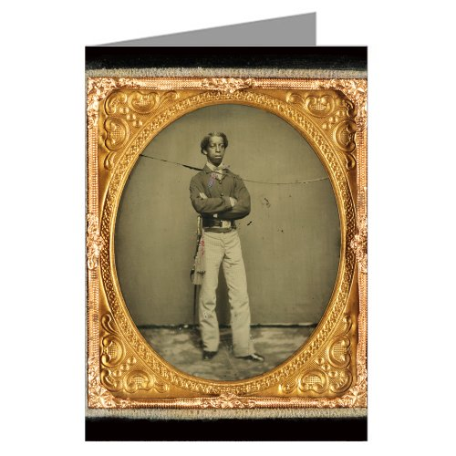 1 Vintage Greeting Cards of Union African American solder in cavalry uniform with sword from the Civil War