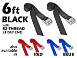 Powertye 1½'' x 6ft Made in USA Heavy-Duty Lashing Strap with Heavy-Duty Buckle, Black, 2-Pack