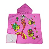 Dynamic Panda Beautiful Mermaid Hooded Beach Towel for Children, For Bath, Shower, Pool, Swim, Hooded Poncho Bathrobe, Ultra Soft Microfiber, Boys and Girls Ocean Towel