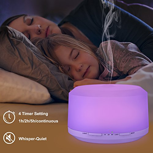 450ML Essential Oil with 8 Changing ZOOKKI Aromatherapy Diffuser Essential with 4 and Waterless Shut-off Feature Large