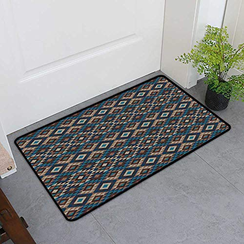 TableCovers&Home Pet Door Mat, Native American Decor Non-Slip Rugs for Kids Room, Ethnic Knitted Jacquard View Fabric Geometric (H16 x W24)