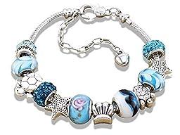 Charm Central Ocean DIY Charm Bracelet Kit 7.1 inches (18cm) - Make Your Own Charm Bracelet Kit for Women, Teens, Girls - Charms & Bracelet Included