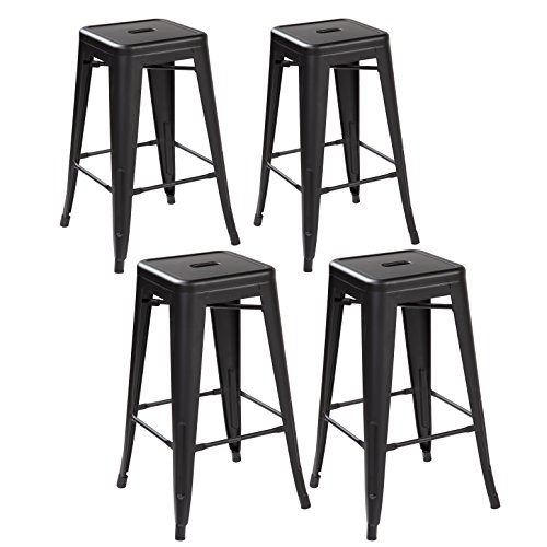 26 Inch Backless Metal Counter Height Bar Stools Set Of 4 Vintage Tolix Chairs Matt Black