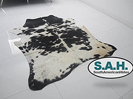 Amazon.com: Premium Cowhide Rugs- Black and White- Large Size: Kitchen & Dining