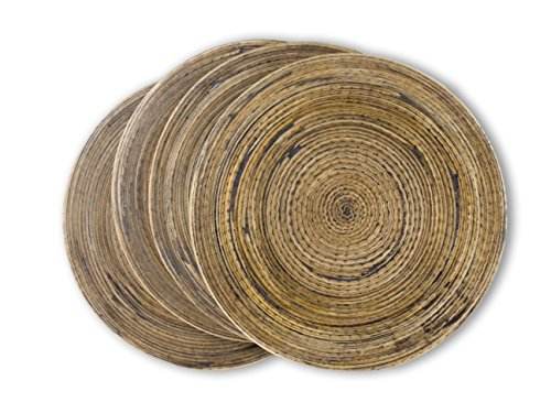 Spun Bamboo Coasters for Drinks with Non-Skid Backing (Set of 4) by Earthly