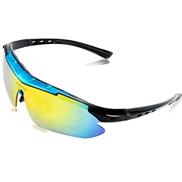 b9df89c46c Supertrip Polarized Cycling Glasses with 5 Interchangeable Lenses UV400 Sports  Sunglasses Color Black-Blue