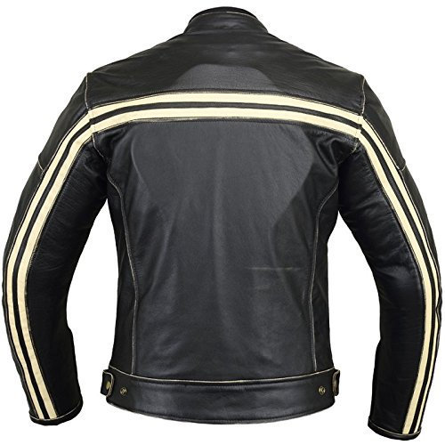 Bikers Gear UK Blouson style Retro Caf/é Racer Bonnie 100/% cuir de Bovin noir avec ligne Blanche sur les manches