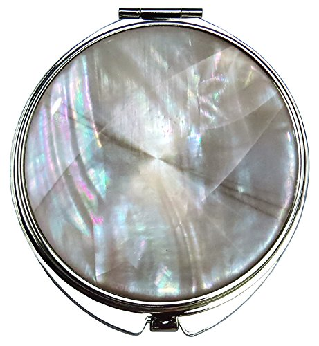 MADDesign Compact Makeup Mirror Mother Pearl Sea Shell Metal Round Double Sided Folding Magnify 2.5X Beige Silver Fractal