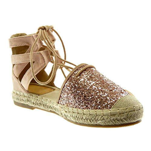 Angkorly Damen Schuhe Sandalen Espadrilles - Hohe - Knöchelriemen - Glitzer - Gekreuzte Riemen - Seil Blockabsatz 2 cm Rosa