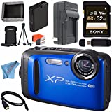 Fujifilm FinePix XP90 Digital Camera (Blue) 16500076 + Sony 32GB SDHC Card + Lithium Ion Battery + External Rapid Charger + Memory Card Wallet + Card Reader + Fibercloth + HDMI Cable Bundle