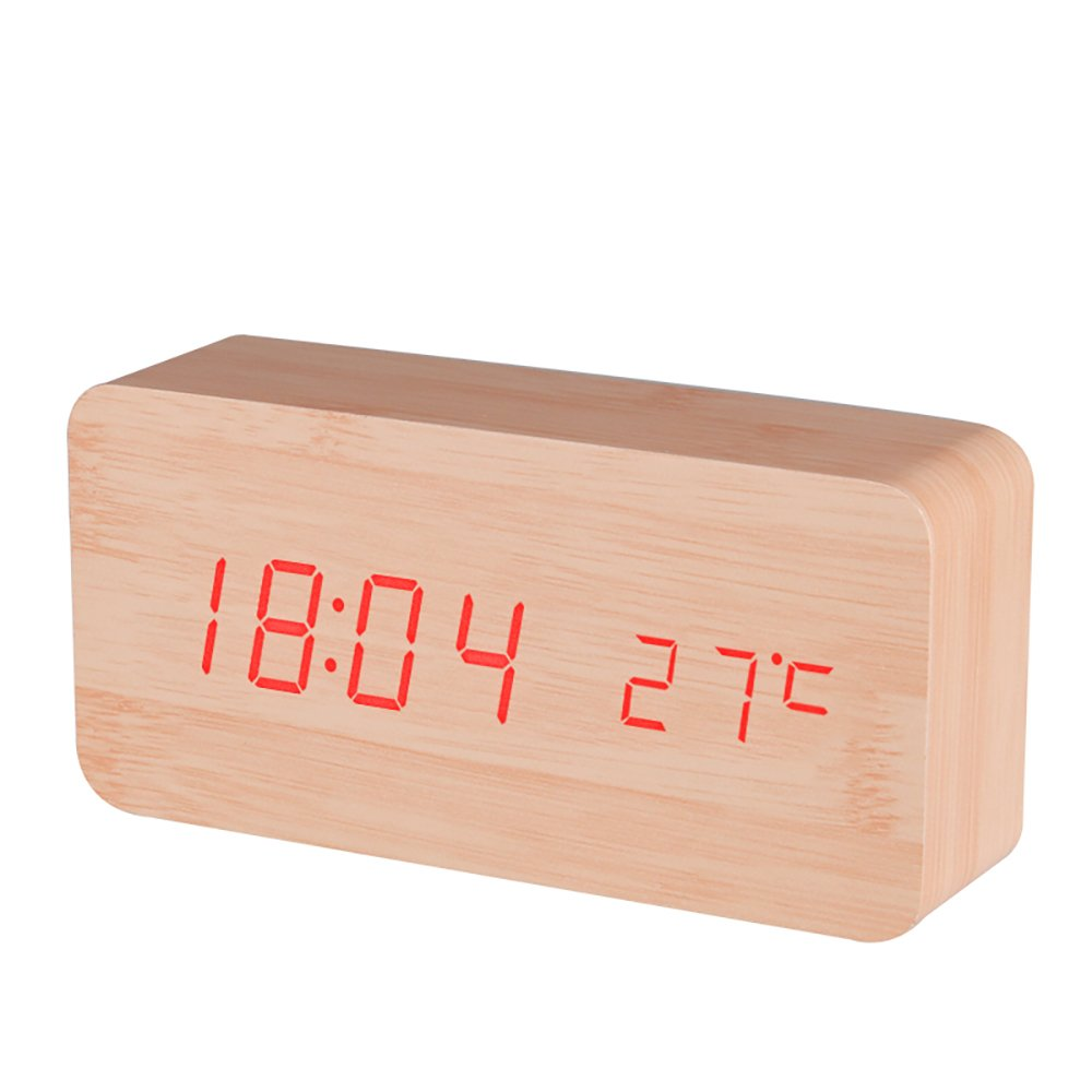 BALDR Wooden Alarm Clock Digital, Bamboo Wood Red Light CL0929YR1