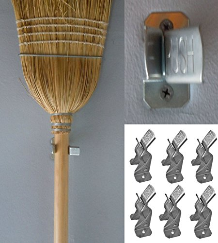 Broom Clip - 6 Metal Spring Grip Clamps Garage Closet Wall Organizer for Brooms, Mops, Rakes, Etc. (6 Pack)