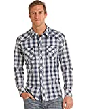 Rock & Roll Cowboy Men's and Bleach Washed Plaid Long Sleeve Shirt Blue X-Large