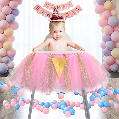 1st Birthday Tutu Skirt for High Chair Decoration Tulle Chair Skirt for Baby Shower Birthday Party Supplies(Pink and