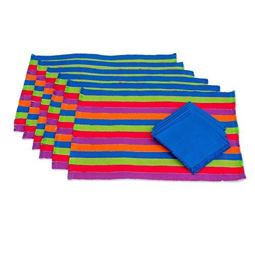 NOVICA Blue Red Green Striped Cotton Placemats and Blue Napkins Table Linen Set, Harvest Trails' (Set of 6)