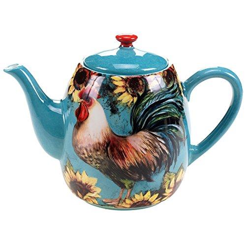 Certified International 17720 Sunflower Rooster Teapot, 40 oz, Multicolor
