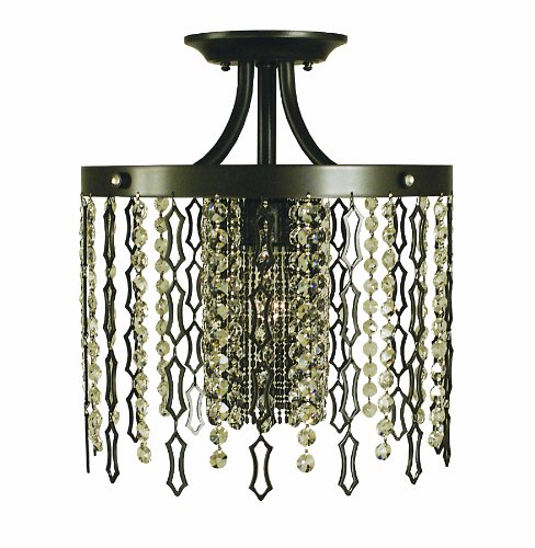 Framburg 2953 BN Penelope 1-Light Semi-Flush with Crystal and Metal Curtain, Brushed Nickel - Downlight Semi Flush