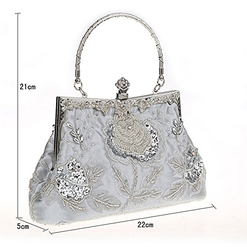 Handbag ANDAY Silvery Clutch Women's Vintage Black Flower Beaded Sequins Embroidered qv0fwHqr