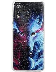 TYWZ Glitter Case voor Samsung Galaxy A02, schokbestendige zachte TPU + harde plastic beschermhoes voor vrouwen meisjes-Wolf