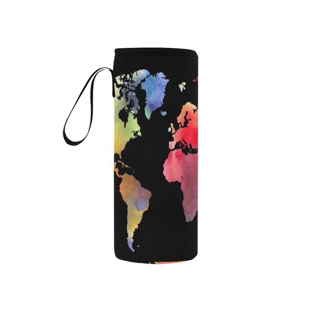 InterestPrint Watercolor World Map Neoprene Water Bottle Sleeve Insulated Holder Bag 7.04oz-12.67oz, Colorful Maps Sport Outdoor Protable Cooler Carrier Case Pouch Cover with Handle