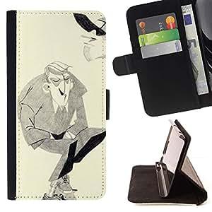 Momo Phone Case / Flip Funda de Cuero Case Cover - Man Moustache Hitler Art dessin au crayon - Apple Iphone 5C