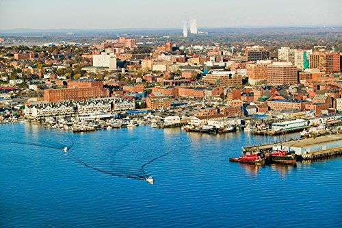 Portland Port Maine Old - Posterazzi Aerial of Downtown Harbor and Portland View of Maine Medical Center Commercial Street Old Port and Back Bay. Poster Print by Panoramic Images (36 x 24) Varies